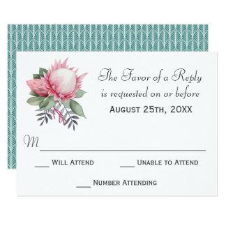 Tarjeta Fantasía RSVP que se casa floral del Protea