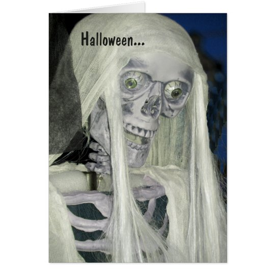 Tarjeta fantasmagórica de Halloween con el