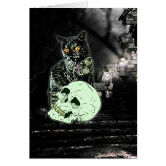 Tarjeta fantasmagórica de Halloween del gato del
