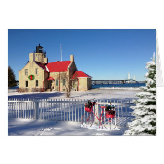 Tarjeta Faro viejo del punto de Mackinac del navidad de