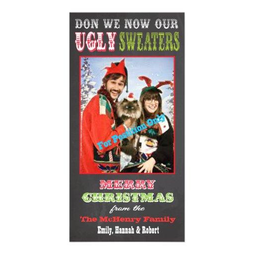 Tarjeta fea de la foto del suéter del navidad de l tarjeta fotografica