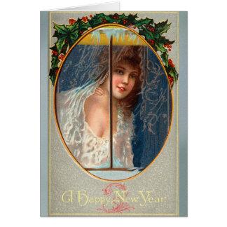 Tarjeta Felices Año Nuevo del vintage que saludan