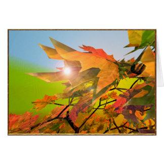 Tarjeta Felices hojas de arce del otoño
