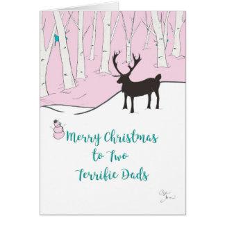 Tarjeta Felices Navidad a dos papás fabulosos, caprichosos