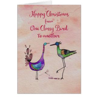 Tarjeta Felices Navidad a partir de un pájaro con clase a