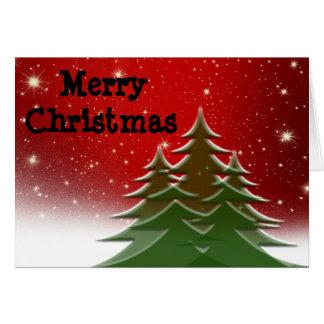 Tarjeta Felices Navidad, árboles, de nuestra familia
