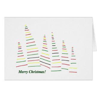 Tarjeta Felices Navidad. Árboles de pino. Bosque. Días de