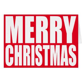 Tarjeta Felices Navidad blancas del bloque grande