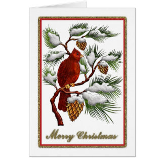 Tarjeta Felices Navidad - cardenal rojo con los conos del