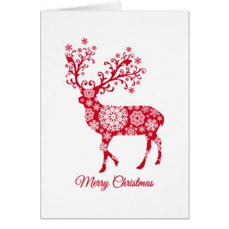 Tarjeta Felices Navidad, ciervo común con los copos de