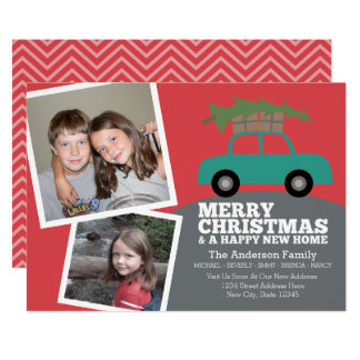 Tarjeta Felices Navidad con la nueva mudanza de la