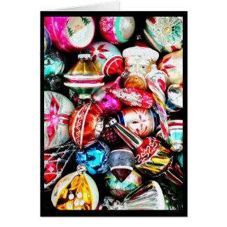 Tarjeta Felices Navidad con los ornamentos antiguos