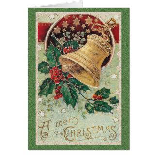 Tarjeta Felices Navidad de Bell de navidad del vintage