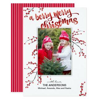 Tarjeta Felices Navidad de la baya con su foto
