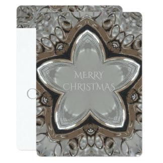 Tarjeta Felices Navidad de la estrella brillante gris