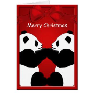 Tarjeta Felices Navidad de los amigos del oso de panda que