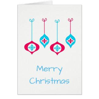 Tarjeta Felices Navidad de los ornamentos azules y rojos