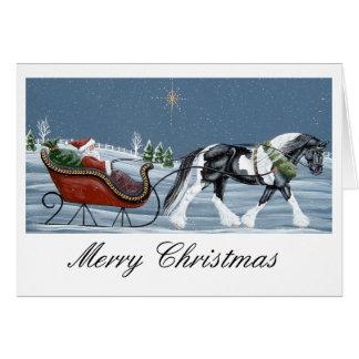 Tarjeta Felices Navidad del caballo gitano de Vanner