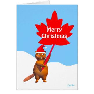 Tarjeta Felices Navidad del castor de Canadá