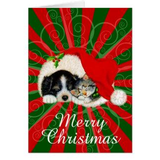 Tarjeta Felices Navidad del gato del perro y del gorra de