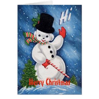 Tarjeta Felices Navidad del muñeco de nieve lindo del