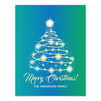 Tarjeta Felices Navidad del oro del árbol festivo elegante