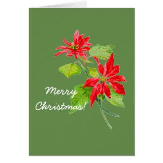 Tarjeta Felices Navidad del Poinsettia del vintage