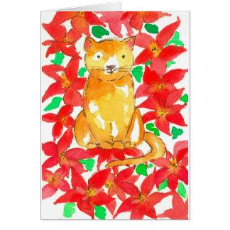Tarjeta Felices Navidad del Poinsettia rojo del gato del