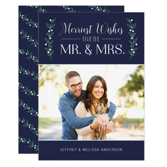 Tarjeta Felices Navidad del recién casado de las bayas el