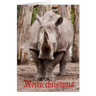 Tarjeta Felices Navidad del rinoceronte