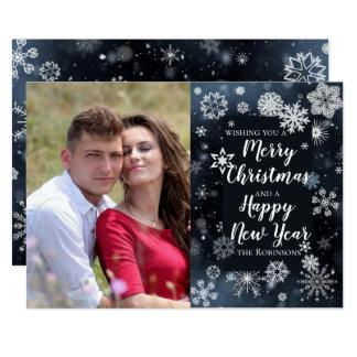 Tarjeta Felices Navidad, diseño del saludo de la Feliz Año