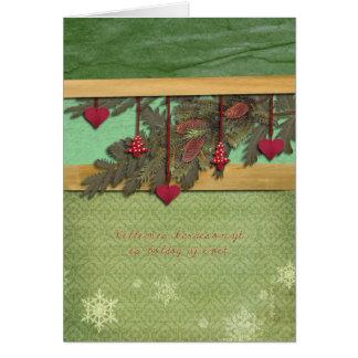 Tarjeta Felices Navidad en corazones húngaros, rojos