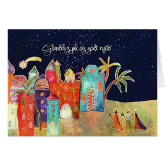 Tarjeta Felices Navidad en danés, tres hombres sabios