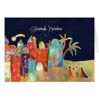 Tarjeta Felices Navidad en el africaans, natividad, tres