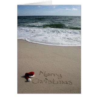 Tarjeta Felices Navidad en las estrellas de mar del océano