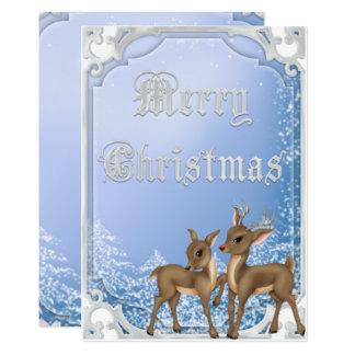 Tarjeta Felices Navidad enmarcadas plata de Rudolph y de