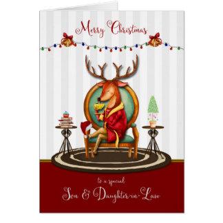Tarjeta Felices Navidad hijo y reno de la nuera