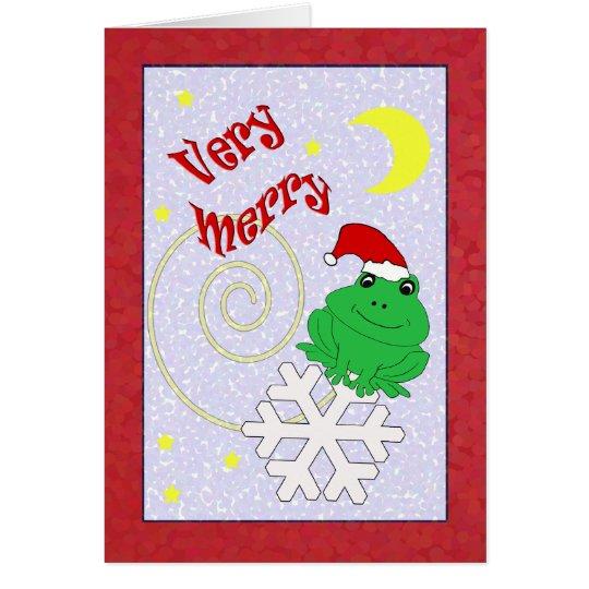 Tarjeta Felices Navidad muy caprichosas de la rana de