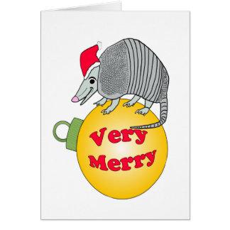 Tarjeta Felices Navidad muy del armadillo de Santa