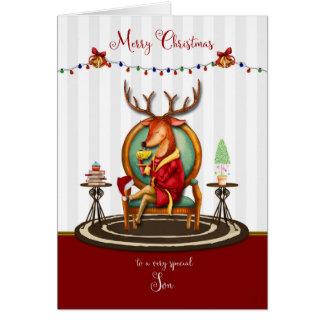 Tarjeta Felices Navidad para el reno del hijo