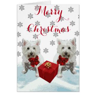 Tarjeta Felices Navidad Westies con el regalo