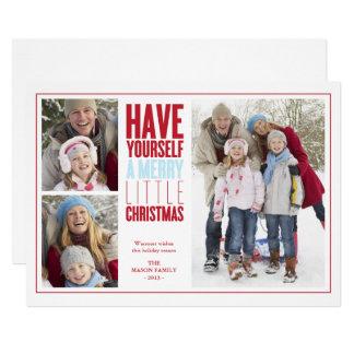 Tarjeta Felices pequeños Navidad el | rojo/azul claro