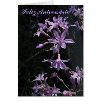 Tarjeta - Feliz Aniversário - Flores Violetas