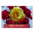 Tarjeta - Feliz Aniversário - Rosas Amarillas y