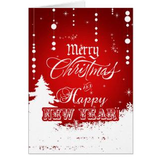 Tarjeta Feliz Año Nuevo blanca roja corporativa de las