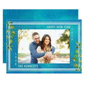 Tarjeta Feliz Año Nuevo de la acuarela azul