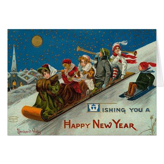 Tarjeta Feliz Año Nuevo de la diversión del invierno