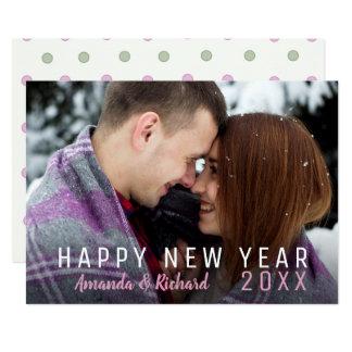Tarjeta Feliz Año Nuevo de la foto simple del día de
