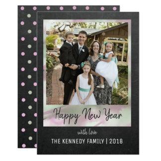 Tarjeta Feliz Año Nuevo de la pizarra y de la acuarela