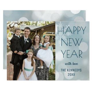 Tarjeta Feliz Año Nuevo moderna de la foto de familia